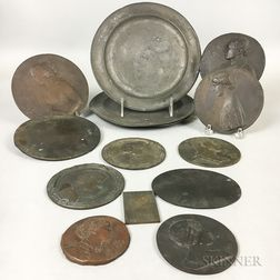 Eleven Bronze and Bronzed Metal Portrait Medallions