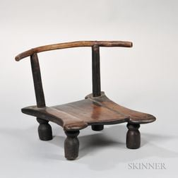 African Hardwood Low Chair