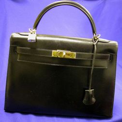 "Black Leather ""Kelly"" Handbag, Hermes"