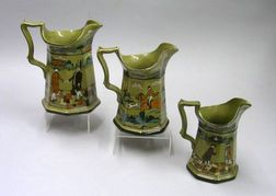 Three 1908 Buffalo Pottery Graduated Deldare Ware Pitchers