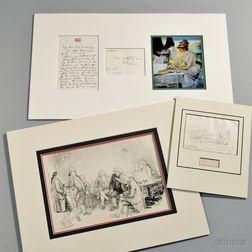 Artists and Illustrators, Signed Correspondence and Sketches, Three Pieces.