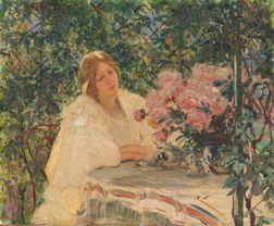 Mary Louise Fairchild MacMonnies (American, 1858-1946)      Woman at Tea in a Garden