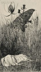 Leonard Baskin (American, 1922-2000)      Lot of Two Images: Dog in the Meadow