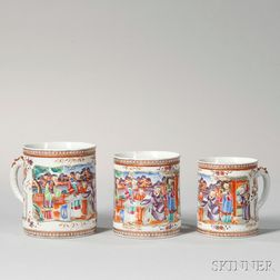Three Graduated Polychrome Decorated Chinese Export Porcelain Mugs