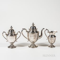Three-piece William Gale & Son Sterling Silver Coffee Set