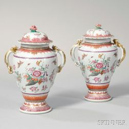 Pair of Export Porcelain Covered Vases