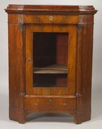 Continental Empire Revival Gilt-bronze Mounted Mahogany Corner Cabinet
