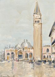 Maurice Bompard (French, 1857-1936)      St. Mark's Square in Rain