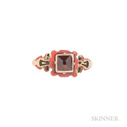 Renaissance Revival Gold and Enamel Gem-set Ring