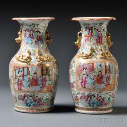 Pair of Export Rose Medallion Vases