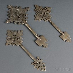 Three Coptic Processional Hand Crosses