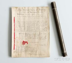 Adams, John Quincy (1767-1848) Letters Patent Signed, Washington, D.C., 9 October 1828.