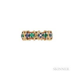 18kt Gold, Platinum, Sapphire, and Emerald Ring, Schlumberger, Tiffany & Co.