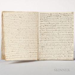 Adams, John Quincy (1767-1848) Copies of Letters.