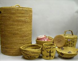 Six Assorted Ethnographic Woven Baskets