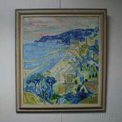 Palle Thrane (Danish, 1911-2005)      Mediterranean Coastal View