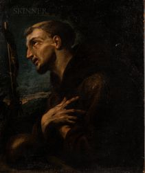 Follower of Carracci School (Italian, 16th/17th Century)      St. Francis in Prayer
