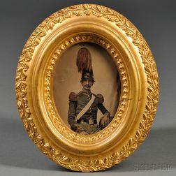 Quarter-plate Ambrotype Portrait of a Militia Officer Wearing a Plumed Shako Hat