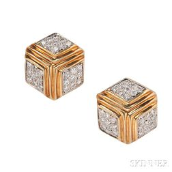 18kt Gold and Diamond Earclips, Verdura