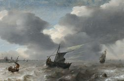 Attributed to Simon Jacobsz de Vlieger (Dutch, 1601-1653)      Vessels in Rough Seas off the Dutch Coast