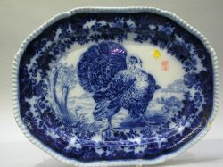 Copeland Flow Blue Ceramic Turkey Platter.