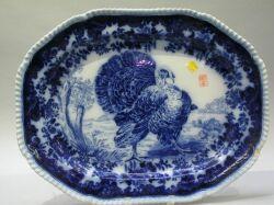 Copeland Flow Blue Ceramic Turkey Platter.