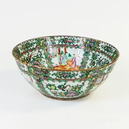 Rose Medallion Porcelain Punch Bowl