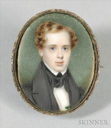 Portrait Miniature Brooch of a Young Man