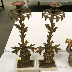 Pair of Figural Brass Girandoles