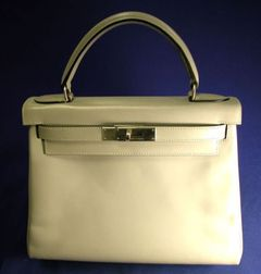 "Gray Leather ""Kelly"" Handbag, Hermes"