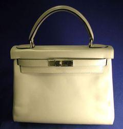 "Gray Leather ""Kelly"" Handbag, Hermes"