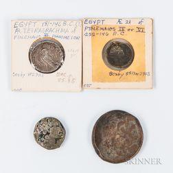 Four Ptolemaic Egyptian Coins