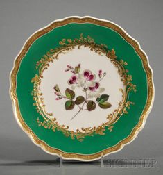 Seventeen Chamberlain's Worcester Porcelain Botanical Decorated Plates