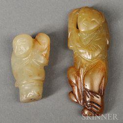 Two Small Celadon Hardstone Figures