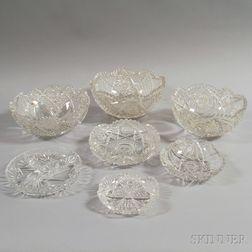 Seven Colorless Cut Glass Bowls