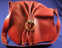 Wine Leather, Brass, and Enamel Shoulder Bag, Gucci