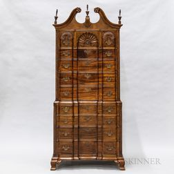 Chippendale-style Mahogany Block- and Shell-carved Chest-on-chest