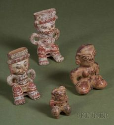 Four Pre-Columbian Polychrome Pottery Figures