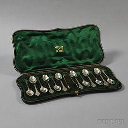 Cased English Sterling Silver Demitasse Set