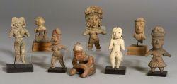 Eight Pre-Columbian Pottery Figures