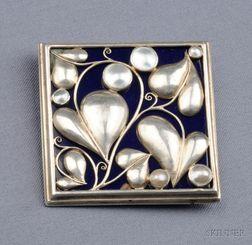 Silver, Enamel, and Freshwater Pearl Plaque, Wiener Werkstaette