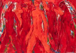 Paul Daxhelet (Belgian, 1905-1993)      Groupe de jeunes filles