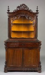 Victorian Carved Mahogany and Part-ebonized Display Cabinet
