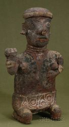 Pre-Columbian Seated Female Pottery Figure