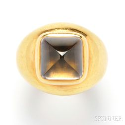 22kt Gold, Smoky Quartz, and Lapis Ring