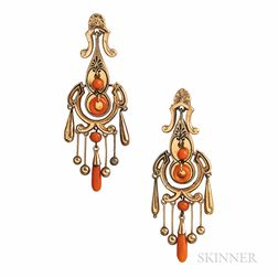 Victorian Gold and Coral Earrings