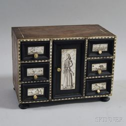 Continental Bone-inlaid Miniature Walnut Chest