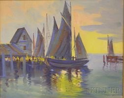 Ernest T. Fredericks (American, 1877-1959)      Harbor View with Sailboats.