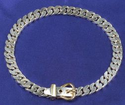 Sterling Silver and 18kt Gold Buckle Necklace, Hermes