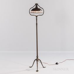 Tiffany Studios Bronze Floor Lamp with Jeweled Bronze Shade